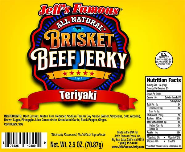 Teriyaki brisket beef jerky